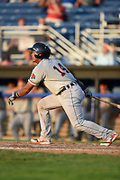 Connecticut Tigers catcher Franklin Navarro (14) at bat during a game against the Batavia Muckdogs on July 21, 2014 at Dwyer Stadium in Batavia, New York.  Connecticut defeated Batavia 12-3.  (Mike Janes/Four Seam Images)