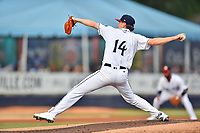 Asheville Tourists starting pitcher Ryan Feltner (14) delivers a pitch during a game against the Lexington Legends at McCormick Field on July 3, 2019 in Asheville, North Carolina. The Tourists defeated the Legends 10-6. (Tony Farlow/Four Seam Images)