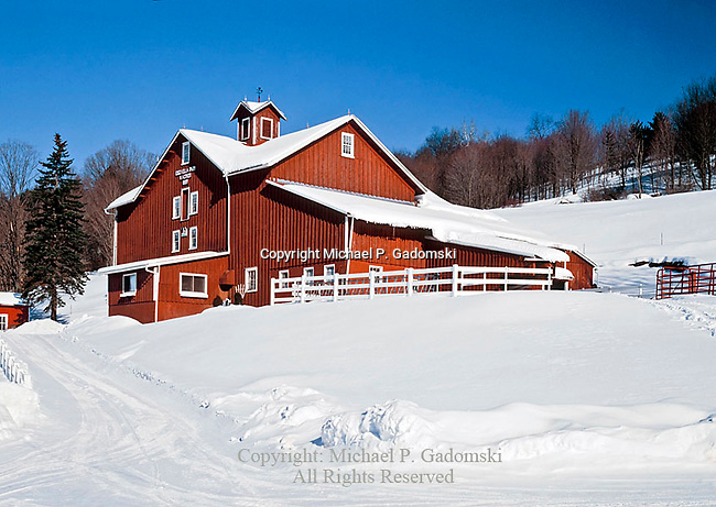 Edgevilla Farm in winter located near Hamden in Delaware County, New York