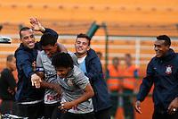 ATENÇÃO EDITOR: FOTO EMBARGADA PARA VEÍCULOS INTERNACIONAIS SÃO PAULO,SP,30 SETEMBRO 2012 - CAMPEONATO BRASILEIRO - CORINTHIANS x SPORT - Romarinho jogador do Corinthians comemora gol durante partida Corinthians x Sport válido pela 27º rodada do Campeonato Brasileiro no Estádio Paulo Machado de Carvalho (Pacaembu), na região oeste da capital paulista na tarde deste domingo (30).(FOTO: ALE VIANNA -BRAZIL PHOTO PRESS).