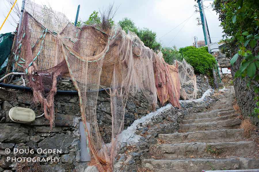 Fishing nets along the trail, Vernazza, Cinque Terre, Italy