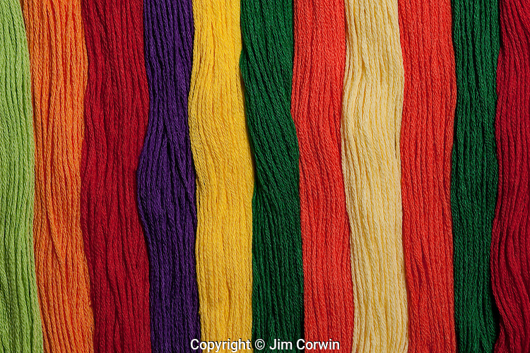 Multicolored embroidery thread in rows, patterns of colors