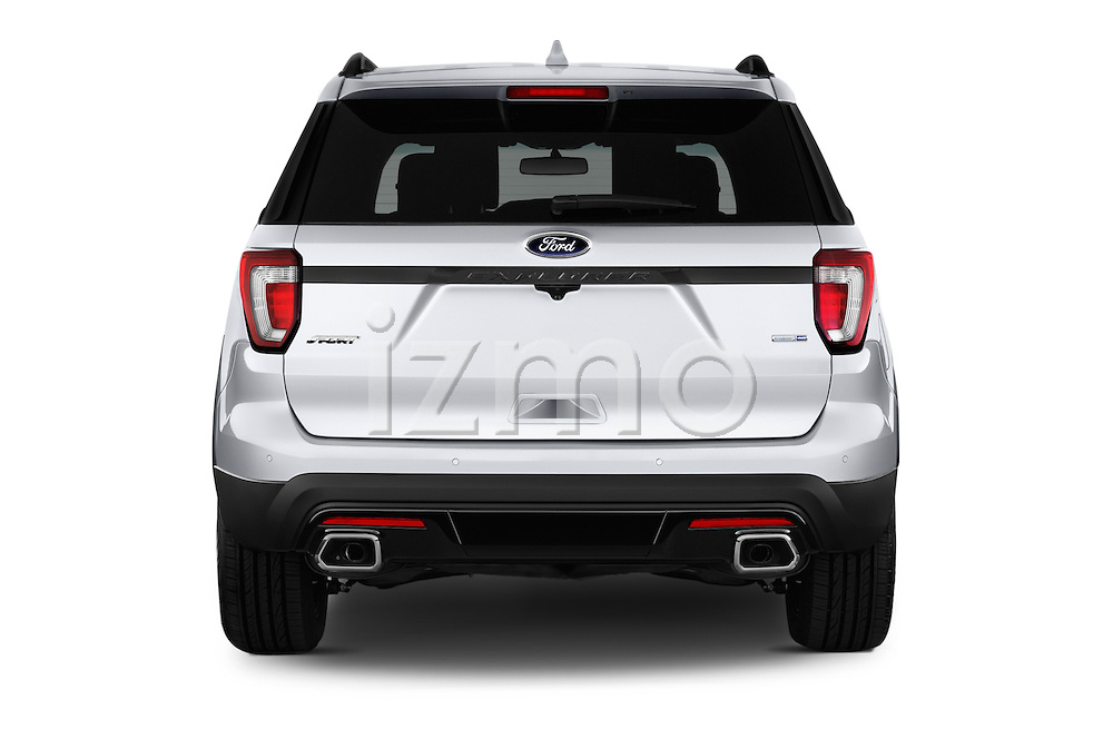 Straight rear view of 2017 Ford Explorer Sport 5 Door Suv Rear View  stock images