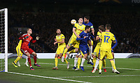 Chelsea's Gary Cahill with a header towards goal <br /> <br /> Photographer Rob Newell/CameraSport<br /> <br /> UEFA Europa League Group L - Chelsea v FC BATE Borisov - Thursday 25th October - Stamford Bridge - London<br />  <br /> World Copyright © 2018 CameraSport. All rights reserved. 43 Linden Ave. Countesthorpe. Leicester. England. LE8 5PG - Tel: +44 (0) 116 277 4147 - admin@camerasport.com - www.camerasport.com