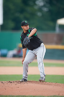 Dayton Dragons starting pitcher Adrian Rodriguez (11) delivers a pitch during a game against the Beloit Snappers on July 22, 2018 at Pohlman Field in Beloit, Wisconsin.  Dayton defeated Beloit 2-1.  (Mike Janes/Four Seam Images)