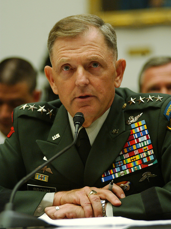 """WASHINGTON - August 1: Gen. Brown, commander of the U.S. special operations command, during the House Oversight and Government Reform Committee oversight hearing titled """"The Tillman Fratricide: What the Leadership of the Defense Department Knew."""" The hearing is about the alleged Pentagon misinformation about the friendly-fire death in Afghanistan of Tillman, an Army corporal and before that a star NFL safety. (Photo by Dana Statton/Congressional Quarterly).."""