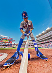 28 April 2017: New York Mets infielder T.J. Rivera prepares his bat in the on-deck circle during a game against the Washington Nationals at Nationals Park in Washington, DC. The Mets defeated the Nationals 7-5 to take the first game of their 3-game weekend series. Mandatory Credit: Ed Wolfstein Photo *** RAW (NEF) Image File Available ***