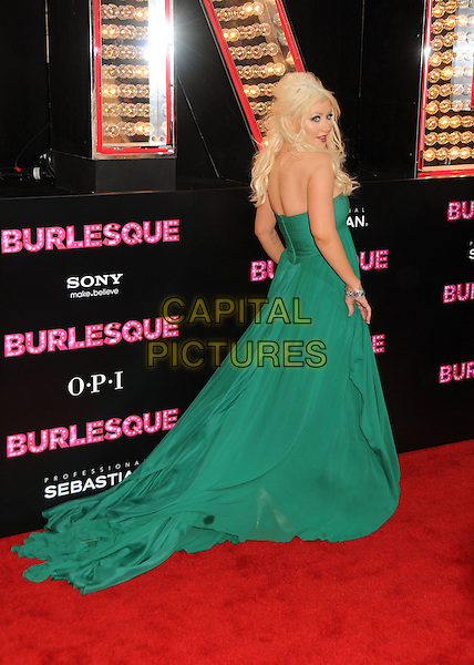 "CHRISTINA AGUILERA .""Burlesque"" Los Angeles Premiere held at Grauman's Chinese Theatre, Hollywood, California, USA, .15th November 2010..full length long maxi dress  green strapless train back over shoulder rear behind .CAP/ADM/BP.©Byron Purvis/AdMedia/Capital Pictures."