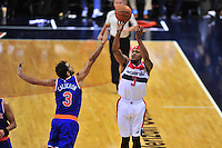 Bradley Beal of the Wizards pulls up for a jump shot. New York defeated Washington 115-104 during a NBA preseason game at the Verizon Center in Washington, D.C. on Friday, October 9, 2015.  Alan P. Santos/DC Sports Box