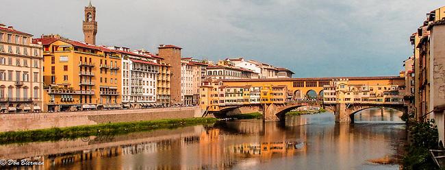 Ponte Vecchio Bridge over the Arno River in Florence, Italy.