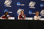 21 March 2014: Oklahoma's Aaryn Ellenberg (left), Morgan Hook (center), and head coach Sherri Coale (right). The University of Oklahoma Sooners held a training session the day before playing in an NCAA Division I Women's Basketball Tournament First Round game at Cameron Indoor Stadium in Durham, North Carolina.