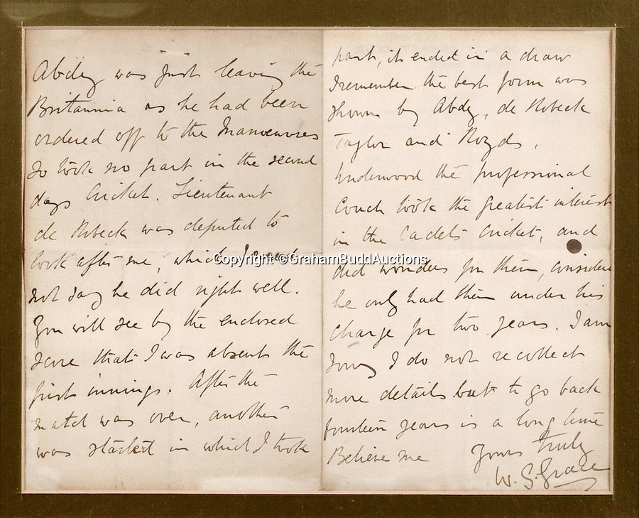 BNPS.co.uk (01202 558833)<br /> Pic: GrahamBuddAuctions/BNPS<br /> <br /> Letter from W.G. Grace recalling a previous match. <br />  <br /> Rare photographs capturing legendary cricketer W.G. Grace demonstrating perfect batting technique for the sport's first picture instruction manual have emerged more than a century after they were taken. <br /> <br /> The collection of images, which are believed to be the first ever of live-action cricket, were snapped between 1901 and 1904 for the book 'Great Batsmen: Their Methods at a Glance'.<br /> <br /> They show a middle-aged Grace, who played first-class cricket for a record 44 seasons and is widely considered to have been England's greatest player, expertly striking a series of shots that even Geoffrey Boycott would find it difficult to fault. <br /> <br /> And after being acquired by a private collector they are set to go under the hammer in London next month with a £7,000 estimate.