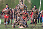 John Penberthy has to go to ground to secure the ball as the Karaka arrive. Counties Manukau Premier Club Rugby game between Patumahoe & Karaka played at Patumahoe on Saturday June 13th 2009. Patumahoe lead 8 - 0 at halftime and went on to win 20 - 0.