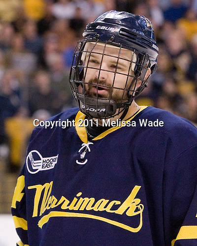 Stephane Da Costa (Merrimack - 24) - The Merrimack College Warriors defeated the University of New Hampshire Wildcats 4-1 (EN) in their Hockey East Semi-Final on Friday, March 18, 2011, at TD Garden in Boston, Massachusetts.
