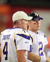Dec 6, 2009; Glendale, AZ, USA; Minnesota Vikings quarterback (4) Brett Favre with quarterback Sage Rosenfels against the Arizona Cardinals at University of Phoenix Stadium. The Cardinals defeated the Vikings 30-17. Mandatory Credit: Mark J. Rebilas-