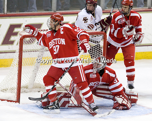 Matt Gilroy (Boston University - 97), Kieran Millan (Boston University - 31), Jimmy Hayes (Boston College - 10), Kevin Shattenkirk (Boston University - 3) - The Boston University Terriers defeated the Boston College Eagles 3-1 at Kelley Rink in Conte Forum in Chestnut Hill, Massachusetts.