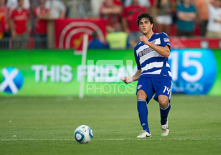 FC Dallas defender George John #14 in action during an MLS game between the FC Dallas and the Toronto FC at BMO Field in Toronto on July 20, 2011..FC Dallas won 1-0.