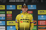 Wout Van Aert (BEL) Team Jumbo-Visma retains the young riders White Jersey at the end of Stage 2 of the Criterium du Dauphine 2019, running 180km from Mauriac to Craponne-sur-Arzon, France. 9th June 2019<br /> Picture: Colin Flockton | Cyclefile<br /> All photos usage must carry mandatory copyright credit (© Cyclefile | Colin Flockton)