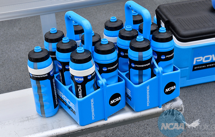 FOXBORO, MA - MAY 28: A detailed view of Powerade bottles on the sideline during the Division II Men's Lacrosse Championship held at Gillette Stadium on May 28, 2017 in Foxboro, Massachusetts. (Photo by Larry French/NCAA Photos via Getty Images)