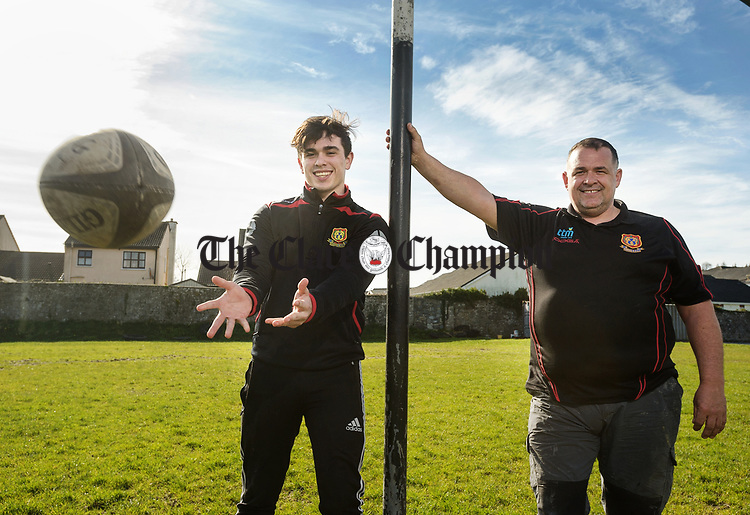 Jack Colleran with his dad John at Ennis RFC. Photograph by John Kelly.