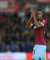 West Ham United's Issa Diop acknowledges the fans at the end of the game<br /> <br /> Photographer Rob Newell/CameraSport<br /> <br /> The Premier League - Huddersfield Town v West Ham United - Saturday 10th November 2018 - John Smith's Stadium - Huddersfield<br /> <br /> World Copyright © 2018 CameraSport. All rights reserved. 43 Linden Ave. Countesthorpe. Leicester. England. LE8 5PG - Tel: +44 (0) 116 277 4147 - admin@camerasport.com - www.camerasport.com