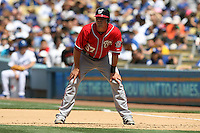 04/29/12 Los Angeles, CA: Washington Nationals first baseman Tyler Moore #57 during an MLB game between the Washington Nationals and the Los Angeles Dodgers played at Dodger Stadium. The Dodgers defeated the Nationals 2-0.