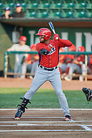 Kevin Maitan (9) of the Orem Owlz bats against the Ogden Raptors at Lindquist Field on August 3, 2018 in Ogden, Utah. The Raptors defeated the Owlz 9-4. (Stephen Smith/Four Seam Images)