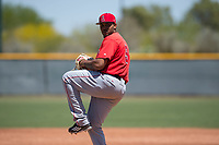 Los Angeles Angels relief pitcher Mayky Perez (90) prepares to deliver a pitch during an Extended Spring Training game against the Chicago Cubs at Sloan Park on April 14, 2018 in Mesa, Arizona. (Zachary Lucy/Four Seam Images)