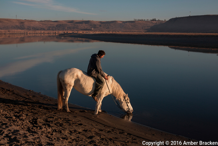 "Land, water, horse - Horses are central in Sioux culture, described ""like my brothers,"" by one youth. To have traditional governance and lifestyles, including horses, on the land is deeply healing and is fundamental to the pipeline resistance."