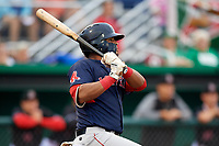 Lowell Spinners designated hitter Trey Ganns (28) at bat during a game against the Batavia Muckdogs on July 14, 2018 at Dwyer Stadium in Batavia, New York.  Lowell defeated Batavia 8-4.  (Mike Janes/Four Seam Images)