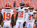 CLEVELAND, OH - AUGUST 18, 2016: Wide receiver Josh Gordon #12 of the Cleveland Browns stands on the field prior to a preseason game on August 18, 2016 against the Atlanta Falcons at FirstEnergy Stadium in Cleveland, Ohio. Atlanta won 24-13. (Photo by: 2016 Nick Cammett/Diamond Images) *** Local Caption *** Josh Gordon
