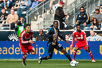 Keon Daniel (26) of the Philadelphia Union. Toronto FC and the Philadelphia Union played to a 1-1 tie during a Major League Soccer (MLS) match at PPL Park in Chester, PA, on April13, 2013.