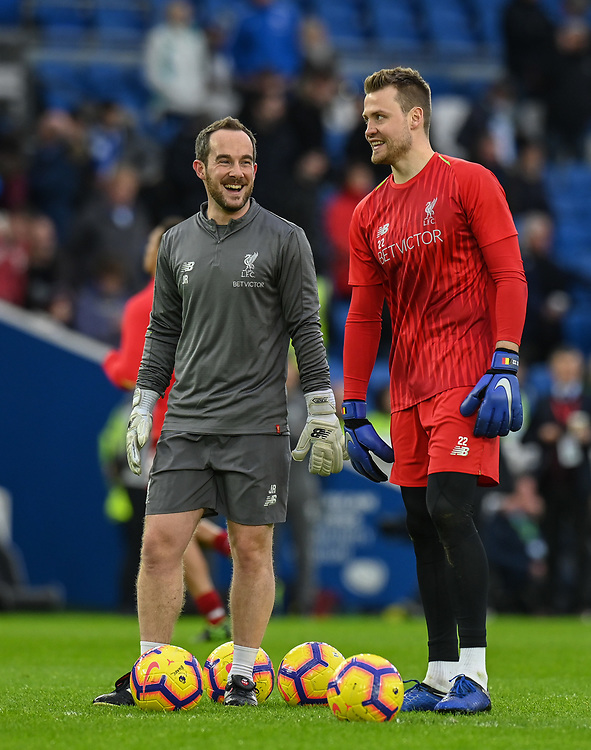 Liverpool First-team goalkeeping coach John Achterberg (left) and Liverpool's Simon Mignolet (right) during the prematch warmup<br /> <br /> Photographer David Horton/CameraSport<br /> <br /> The Premier League - Brighton and Hove Albion v Liverpool - Saturday 12th January 2019 - The Amex Stadium - Brighton<br /> <br /> World Copyright © 2018 CameraSport. All rights reserved. 43 Linden Ave. Countesthorpe. Leicester. England. LE8 5PG - Tel: +44 (0) 116 277 4147 - admin@camerasport.com - www.camerasport.com