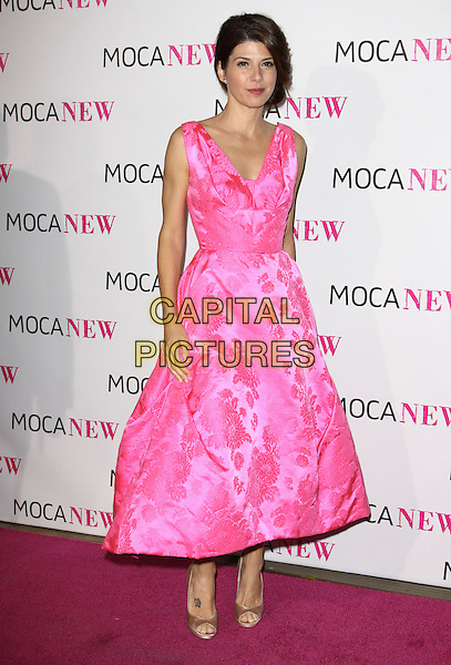 MARISA TOMEI .At MOCA's 30th Anniversary Gala held at MOCA, Los Angeles, California, USA, 14th November 2009. .full length pink sleeveless dress floral print silk satin open toe beige shoes embroidered gold .CAP/ADM/KB.©Kevan Brooks/AdMedia/Capital Pictures.