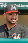 19 March 2015: Miami Marlins catcher Jhonatan Solano looks out from the dugout prior to a Spring Training game against the Atlanta Braves at Champion Stadium in the ESPN Wide World of Sports Complex in Kissimmee, Florida. The Braves defeated the Marlins 6-3 in Grapefruit League play. Mandatory Credit: Ed Wolfstein Photo *** RAW (NEF) Image File Available ***