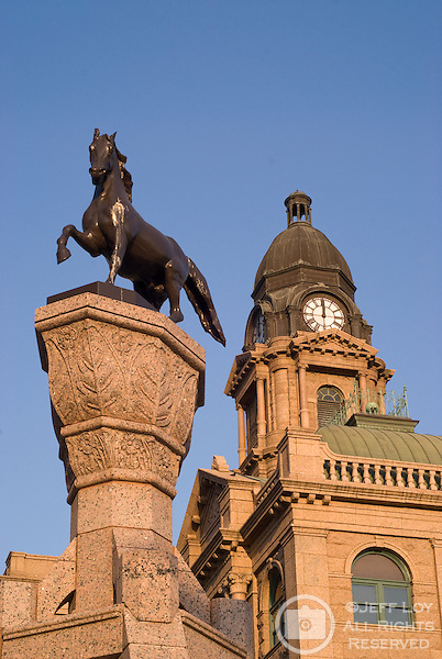 The Horse Fountain stands in front of the Tarrant County Courthouse in downtown Fort Worth, Texas.
