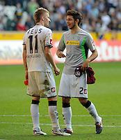 FUSSBALL   1. BUNDESLIGA   SAISON 2011/2012    7. SPIELTAG Borussia Moenchengladbach - 1. FC Nuernberg         24.09.2011 Marco REUS (li) und Thomas ZIMMERMANN (v.l., beide Moenchengladbach) sind nach dem Abpfiff gut gelaunt