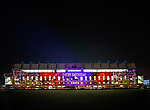 03.04.2019 Rangers v Hearts: Ibrox Stadium main stand lit up with a projection