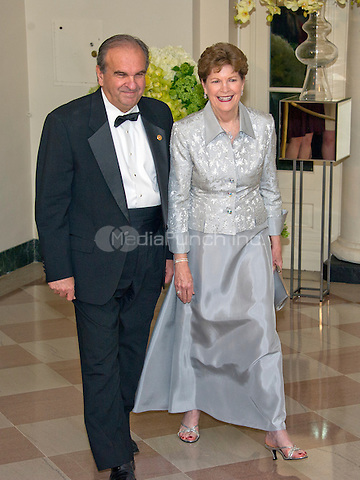 United States Senator Jeanne Shaheen (Democrat of New Hampshire) and William Shaheen arrive for the State Dinner in honor of Prime Minister Trudeau and Mrs. Sophie Gr&Egrave;goire Trudeau of Canada at the White House in Washington, DC on Thursday, March 10, 2016.<br /> Credit: Ron Sachs / Pool via CNP/MediaPunch