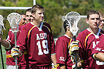 Orange, CA 05/02/10 - Kyle Waltman (ASU # 19) listens to the national anthem before the MCLA SLC Division I championship game against Chapman.