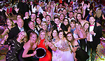 Leixlip Musical and Variety Group who won the Best Overall Show / Gilbert Section for their production of  'Legally Blonde' celebrate afte their victory at the Association of Irish Musical Societies (AIMS) annual awards in the INEC, Killarney at the weekend. Included in the photo are Anne Fitzpatrick with the trophy, Jacqueline Brunton, Best Comedienne, Claire Tighe, Best Choreography and Colm Moules, President, AIMS.<br /> Photo Don MacMonagle<br /> <br /> repro free photo AIMS<br /> Further info: Kate Furlong PRO kate.furlong84@gmail.com