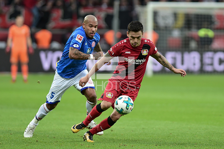 Football : Germany -1. Bundesliga  2017/18 <br /> Bayer Leverkusen 04 vs Mainz <br /> 28/01/2018 - Nigel Dejong  (FSV Mainz 05), Charles Aranguiz (Bayer 04 Leverkusen) *** Local Caption *** &copy; pixathlon<br /> Contact: +49-40-22 63 02 60 , info@pixathlon.de