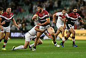 4th November 2017, Sydney Football Stadium, Sydney, Australia; Rugby League World Cup, England versus Lebanon; Alex Twal of Lebanon looks to offload as he is tackled by Ben Currie of England