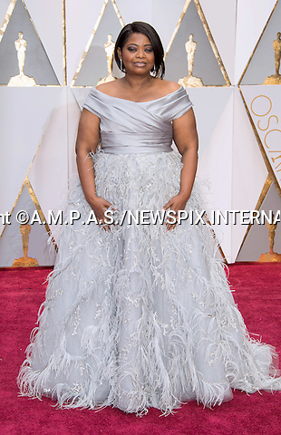 26.02.2017; Hollywood, USA: OCTAVIA SPENCER<br /> attends The 89th Annual Academy Awards at the Dolby&reg; Theatre in Hollywood.<br /> Mandatory Photo Credit: &copy;AMPAS/NEWSPIX INTERNATIONAL<br /> <br /> IMMEDIATE CONFIRMATION OF USAGE REQUIRED:<br /> Newspix International, 31 Chinnery Hill, Bishop's Stortford, ENGLAND CM23 3PS<br /> Tel:+441279 324672  ; Fax: +441279656877<br /> Mobile:  07775681153<br /> e-mail: info@newspixinternational.co.uk<br /> Usage Implies Acceptance of Our Terms &amp; Conditions<br /> Please refer to usage terms. All Fees Payable To Newspix International