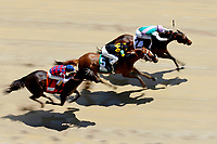 LOUISVILLE, KY - MAY 06: Paulassilverlining #2, ridden by Jose Ortiz, wins the the Humana Distaff Stakes  ahead of Finest City #5, ridden by Mike Smith, and Carina Mia #7, ridden by Julien Leparoux, on Kentucky Derby Day at Churchill Downs on May 6, 2017 in Louisville, Kentucky. (Photo by Jon Durr/Eclipse Sportswire/Getty Images)