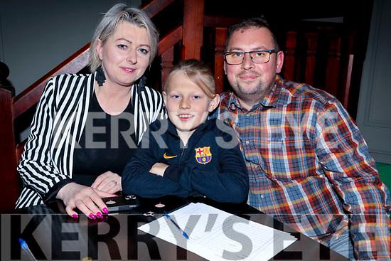 Martha, Karol and Adam Kowascyzk at the St Brendan's Park FC Quiz in the Meadowlands on Friday