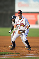 Danville Braves first baseman Alex Lee (17) on defense against the Pulaski Yankees at American Legion Post 325 Field on August 1, 2016 in Danville, Virginia.  The Yankees defeated the Braves 4-1.  (Brian Westerholt/Four Seam Images)