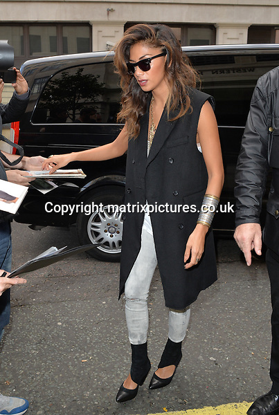 NON EXCLUSIVE PICTURE:  PALACE LEE /  MATRIXPICTURES.CO.UK<br /> PLEASE CREDIT ALL USES<br /> <br /> WORLD RIGHTS<br /> <br /> American recording artist Nicole Scherzinger is pictured arriving at the BBC Radio Two studio in London.<br /> <br /> OCTOBER 11th 2014<br /> <br /> REF: LTN 144382