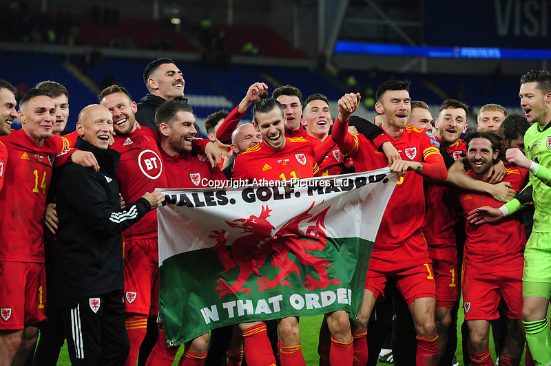 Wales Team celebrates at full time during the UEFA Euro 2020 Group E Qualifier match between Wales and Hungary at the Cardiff City Stadium in Cardiff, Wales, UK. Tuesday 19th November 2019