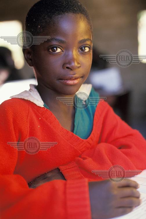 Portrait of a school boy in class.